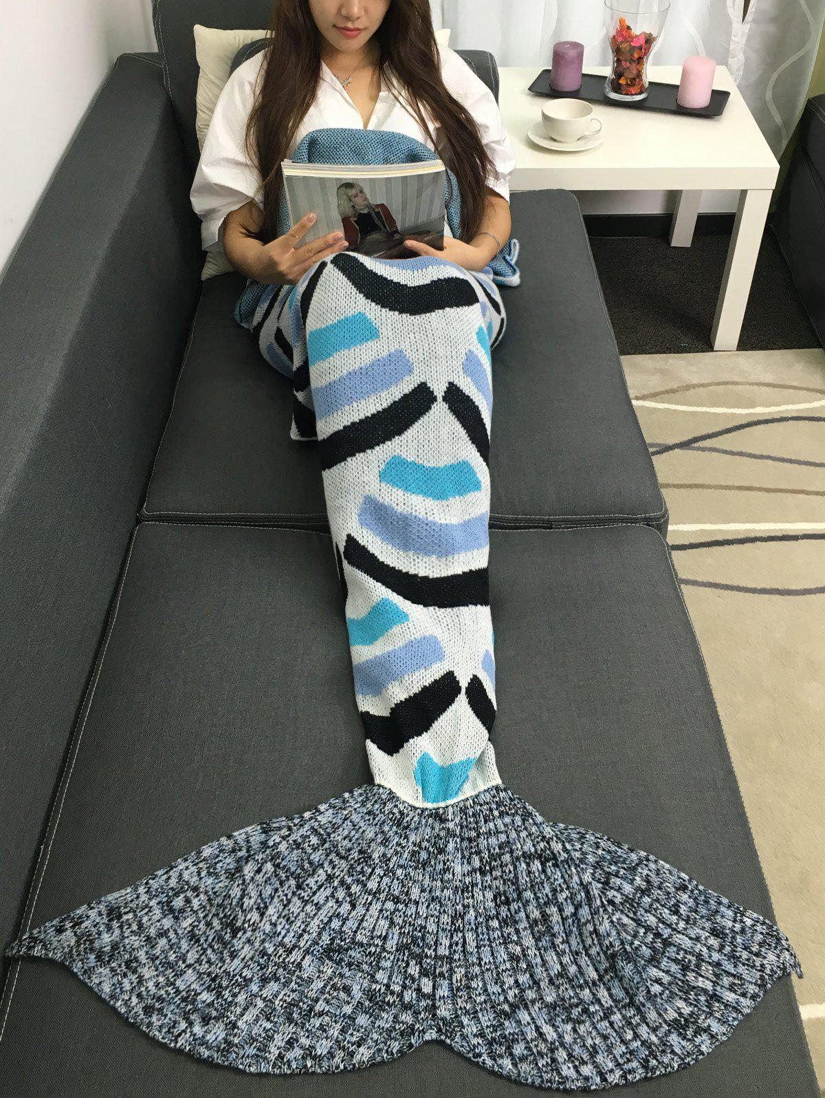 Super Soft Acrylic Knitted Stripe Design Mermaid Tail Blanket - COLORMIX W31.50INCH*L70.70INCH