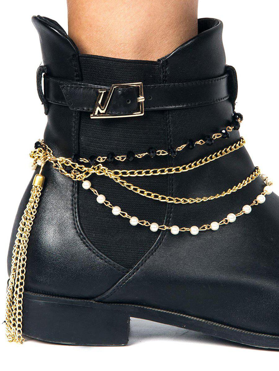 Perlé Tassel Layered Boot Anklet - Or