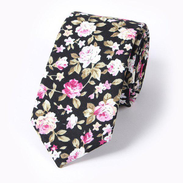 Casual Blossoming Rose Print 6CM Width Tie - BLACK