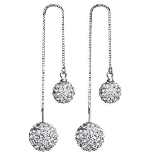 Rhinestone Ball Ear ThreadsJewelry<br><br><br>Color: SILVER