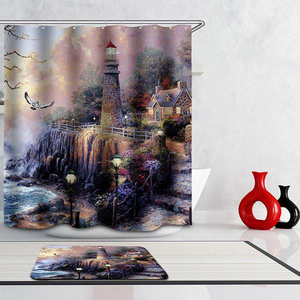 Mouldproof Waterproof Lighthouse Printed Shower Curtain - COLORMIX