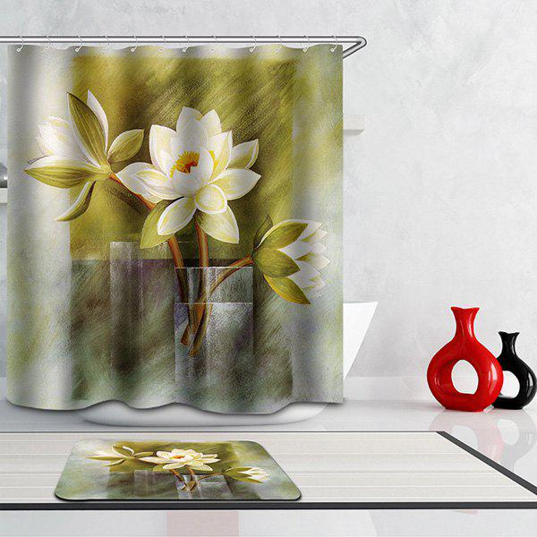 Mouldproof Waterproof Flowers Printed Shower Curtain - COLORMIX