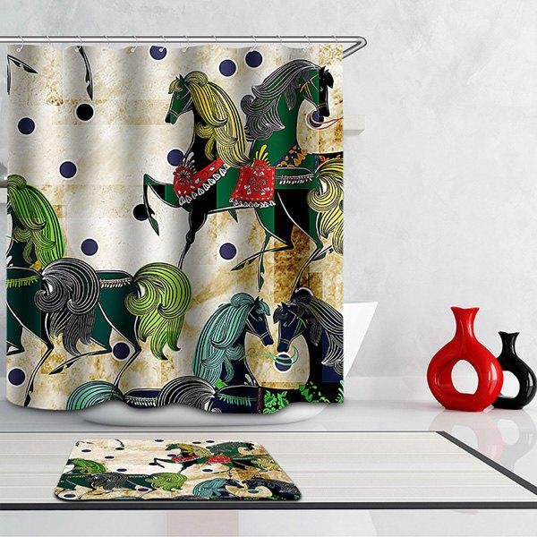 Mouldproof Waterproof Horses Printed Shower Curtain - COLORMIX