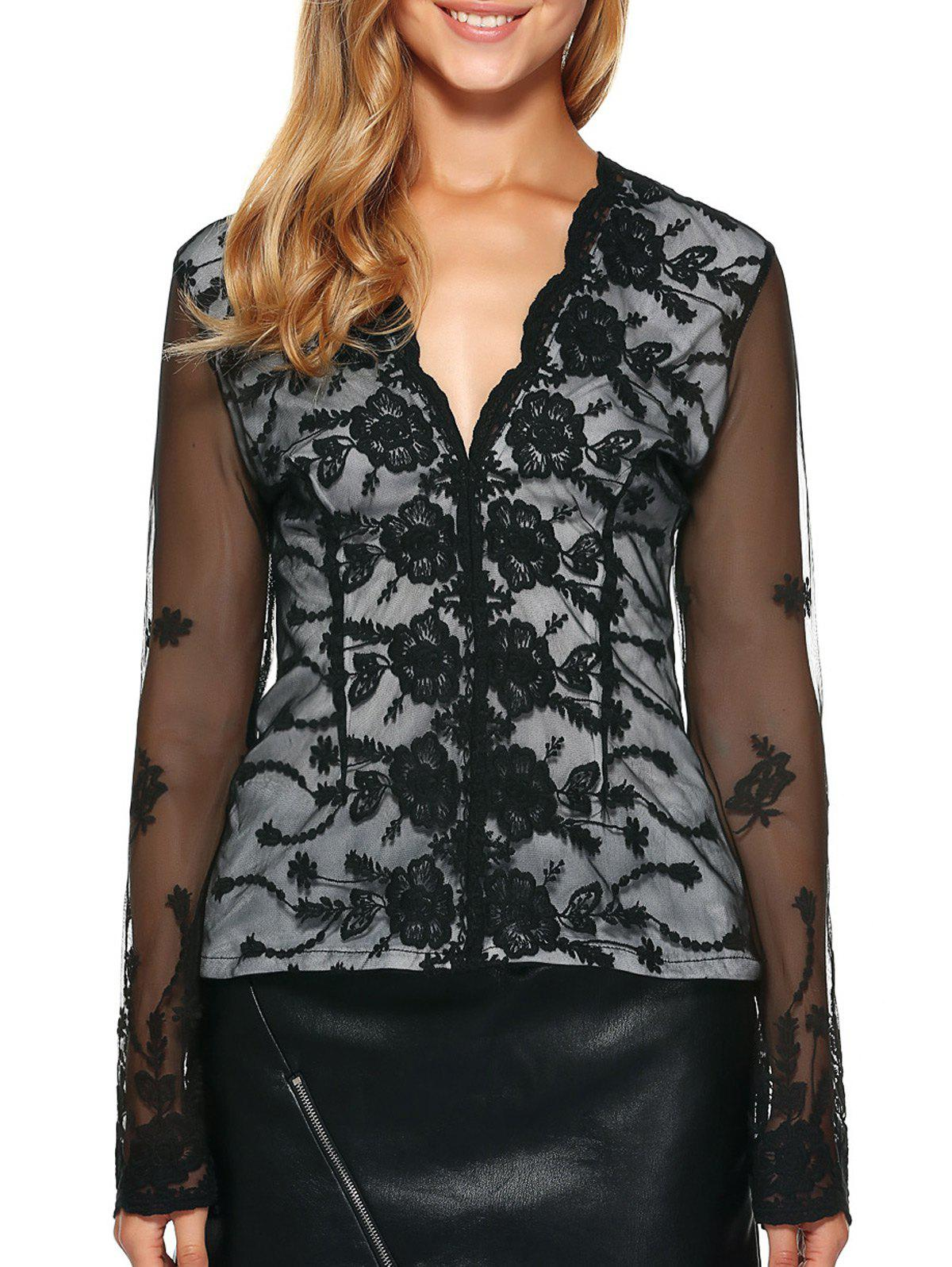 See-Through Back Long Sleeve Lace Top