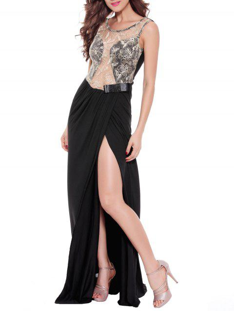 Sequined See-Through Backless Prom Maxi Dress - Blanc 2XL