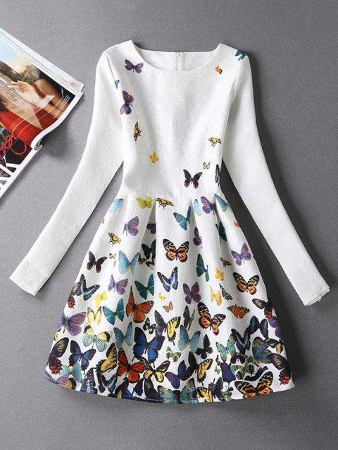 Butterfly Print Skater Dress with Sleeves - WHITE L
