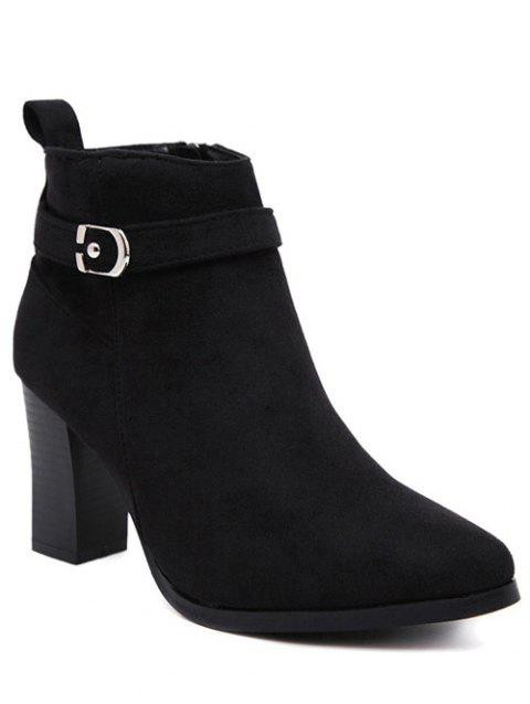 Chunky Heel Buckle Ankle Boots - BLACK 39