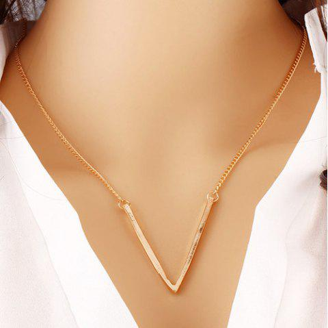 Deep V Shaped Alloy Pendant Necklace - GOLDEN