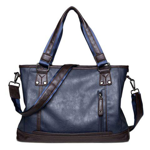 Metal PU Leather 14 Inch Laptop Bag - BLUE