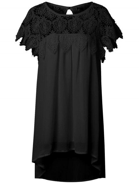 Lace Panel Chiffon Tunic Shift Summer Dress