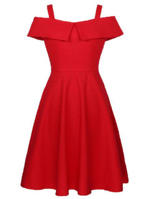 Cami Flounce Ruffles Cold Shoulder Dress - Rouge 2XL