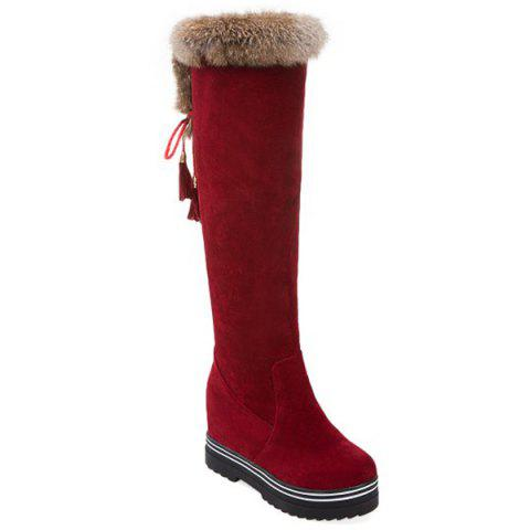 Tassels Faux Fur Hidden Wedge Knee High Boots - DEEP RED 38