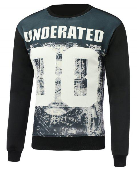 Letter and Number Print Round Neck Long Sleeve Sweatshirt - BLACK XL