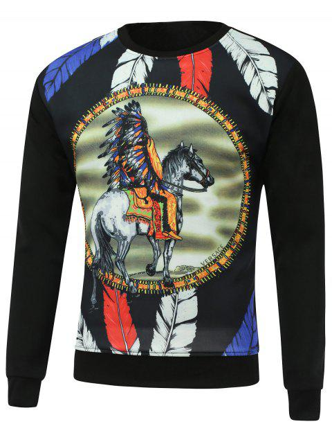 3D Feather Cartoon Print Round Neck Long Sleeve Sweatshirt - BLACK 2XL