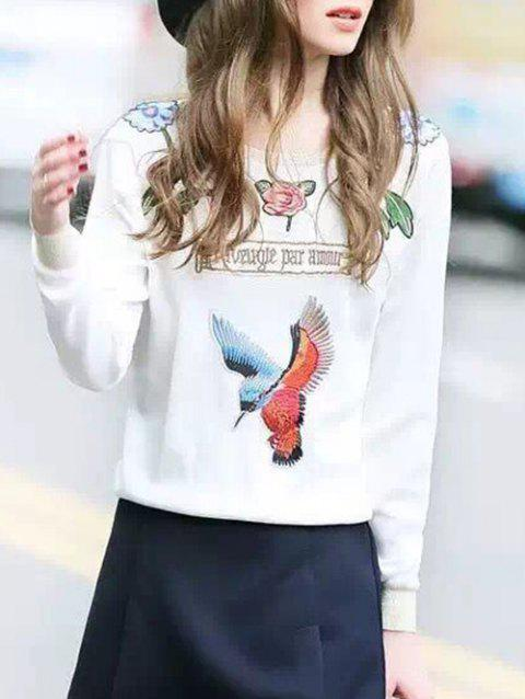 Embroidered Patched Sweatshirt - WHITE ONE SIZE
