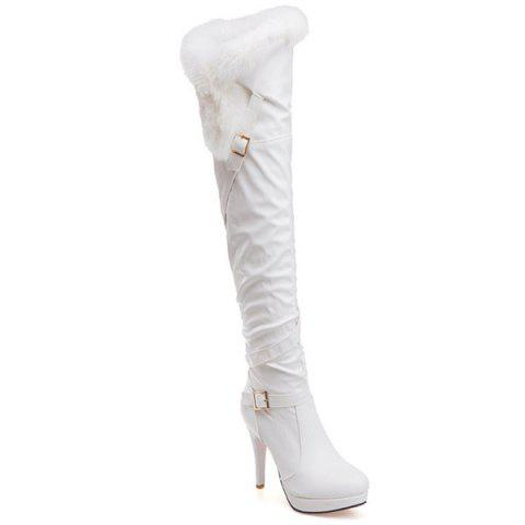 Faux Fur Platform Double Buckle Thigh Boots - WHITE 39