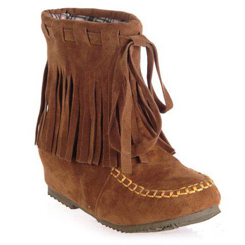 Stitching Suede Fringe Short Boots - BROWN 38