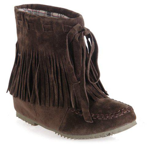 Stitching Suede Fringe Short Boots - DEEP BROWN 39