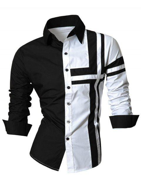 Cross Striped Long Sleeve Color Block Shirt - WHITE 2XL
