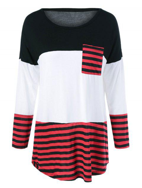 One Pocket Striped High Low T-Shirt - BLACK/WHITE/RED M