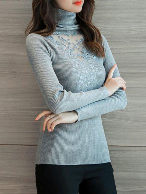 Turtleneck Slim Fit Sweater - GRAY ONE SIZE