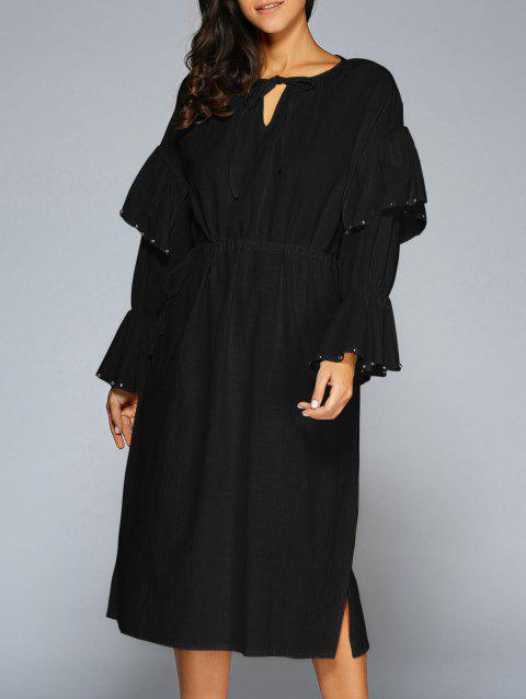 Flare Sleeve Midi Dress - BLACK ONE SIZE