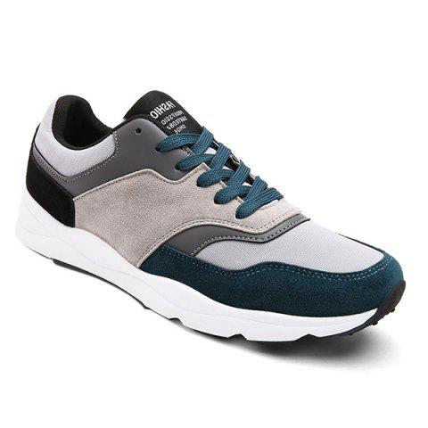 Tie Up Suede Color Block Athletic Shoes - BLUE 40