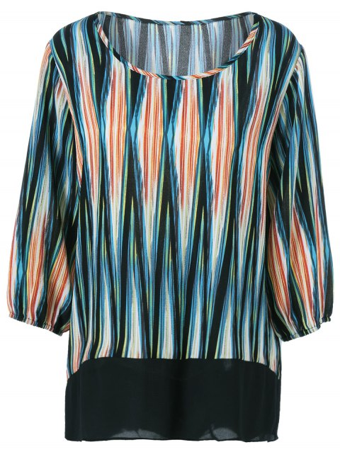 Plus Size Asymmetrical Striped Blouse - COLORMIX XL