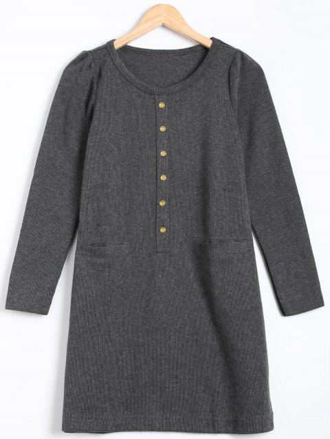 Long Sleeve Buttoned Sweater Dress - GRAY M