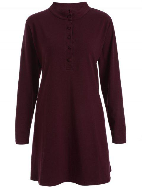 Round Neck Pleated Dress - WINE RED 3XL