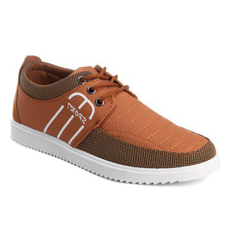 Lace-Up Splicing Stitching Casual Shoes - Brun 41