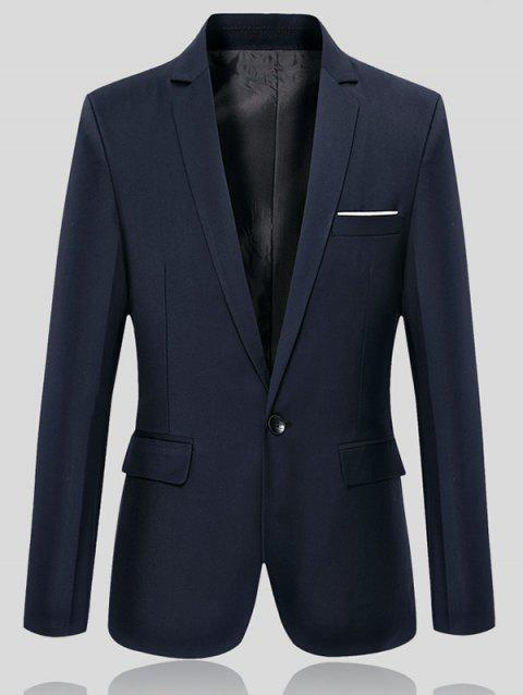 Lapel Collar Flap Pocket Slim Fit Blazer - CADETBLUE 2XL