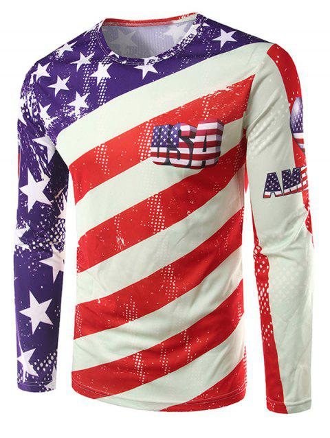 Crew Neck Long Sleeve 3D USA Stars and Stripes Print T-Shirt - COLORMIX M