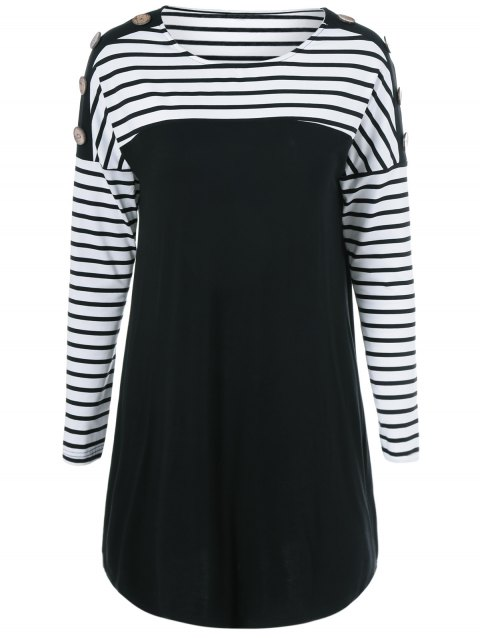 Buttoned Striped Short Mini T-Shirt Dress - WHITE/BLACK M