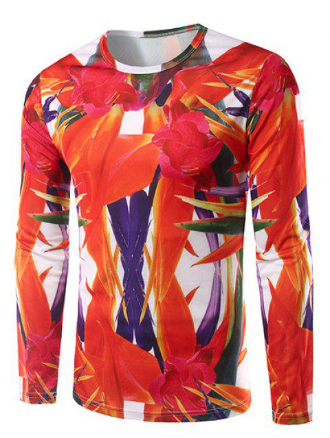 Crew Neck Long Sleeve 3D Abstract Floral Print T-Shirt - RED M