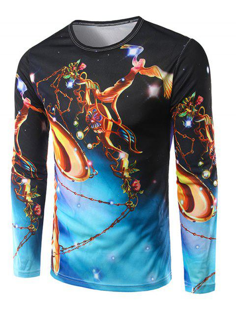 Crew Neck Long Sleeve 3D Abstract Angel Print T-Shirt - COLORMIX M