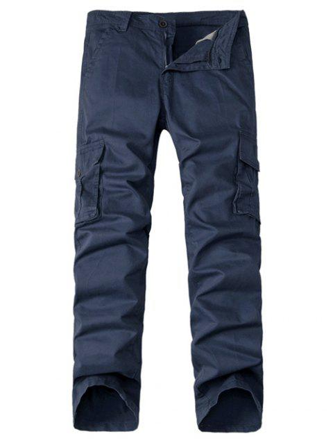 Straight Leg Multi-Pocket Zipper Fly Cargo Pants - SAPPHIRE BLUE 32