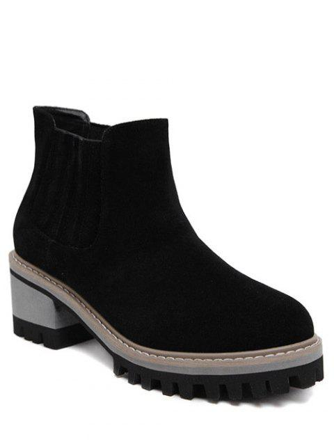 Suede Chunky Heel Ankle Boots - BLACK 39