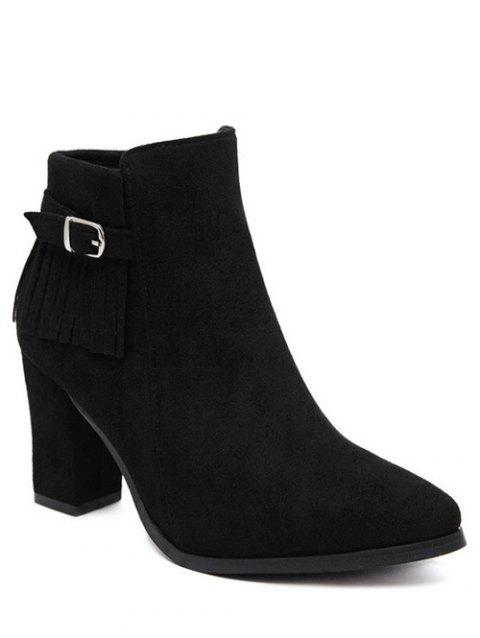 Fringe Chunky Heel Pointed Toe Ankle Boots - BLACK 37