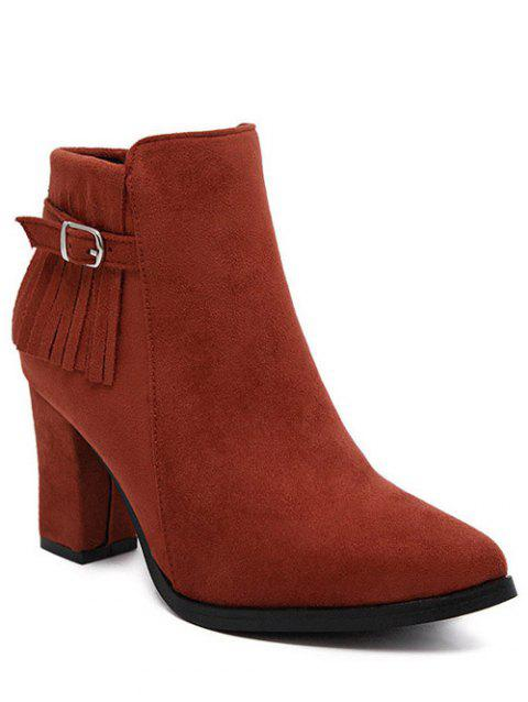 Fringe Chunky Heel Pointed Toe Ankle Boots - RED 38