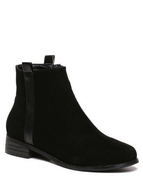 Rounde Toe Suede Short Boots - BLACK 37