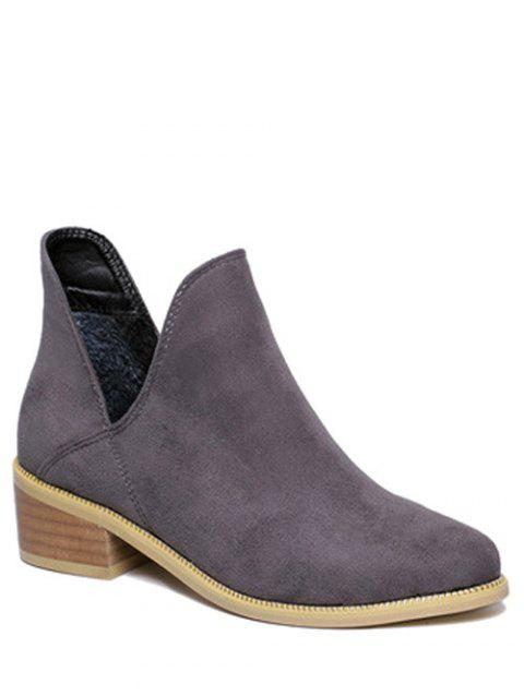 Cut Out Slip On Suede Ankle Boots - GRAY 39