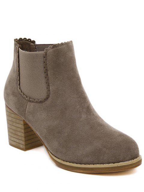 Scalloped Chunky Heel Suede Ankle Boots - DEEP BROWN 37