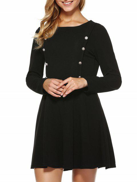 Button Embellished Slimming Dress - BLACK L