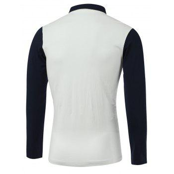 Color Block Turn-Down Collar Long Sleeve Polo T-Shirt - WHITE XL