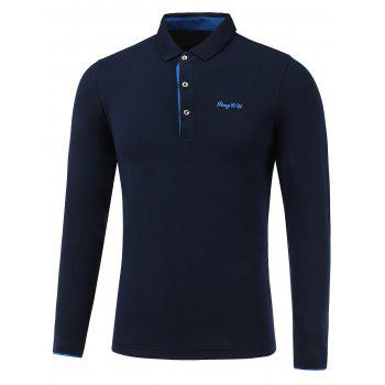 Letter Emboss Turn-Down Collar Long Sleeve Polo T-Shirt