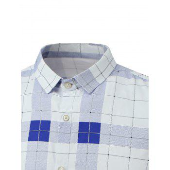 Plaid Long Sleeve Button Down Flannel Shirt - WHITE WHITE