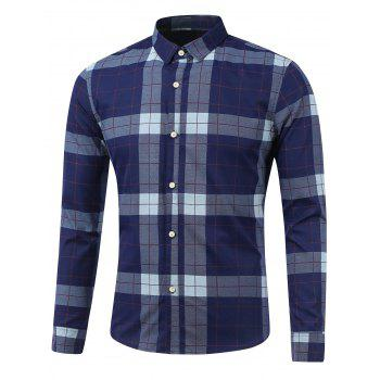 Plaid Long Sleeve Button Down Flannel Shirt - SAPPHIRE BLUE SAPPHIRE BLUE