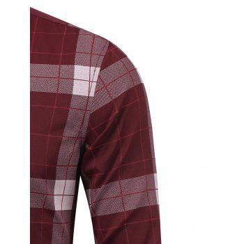 Plaid Long Sleeve Button Down Flannel Shirt - WINE RED 3XL
