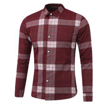 Plaid Long Sleeve Button Down Flannel Shirt - WINE RED WINE RED